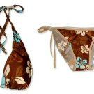 New Brown Blue Halter Bikini Top & Matching Tie Sides Bottom