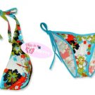 New Blue Hawaiian Tropical Halter Bikini Top & Matching Tie Sides Bottom