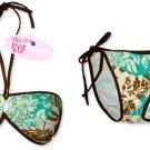 New Brown Green Tropical String Bandeau Bikini Top & Matching Tie Sides Bottom