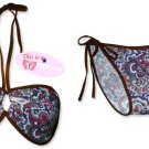 New Brown Purple Paisley String Bandeau Bikini Top & Matching Tie Sides Bottom