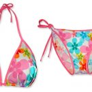 New Pink Rainbow Flower String Bikini Top & Matching Tie Sides Bottom