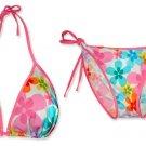New Pink Rainbow Flower String Bikini Top & Matching Tie Sides Bottom