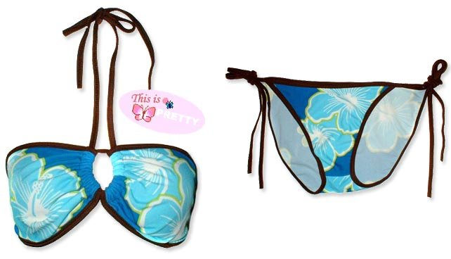 New Brown Blue Tropical String Bandeau Bikini Top & Matching Tie Sides Bottom