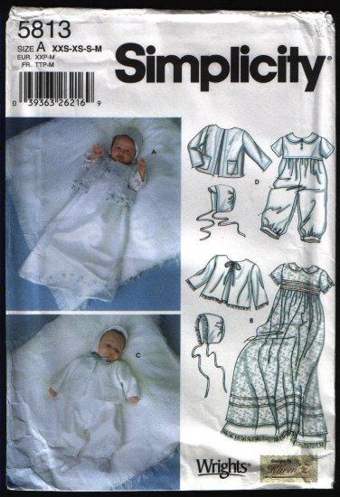 Simplicity 5813 Baptismal Christening Gown Slip Romper Jacket Bonnet NB-12 Mos Cut Complete