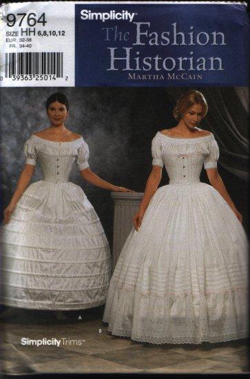 Simplicity 9764 Sewing OOP Pattern Size 6 8 10 12 Misses Crinoline Hoopskirt and Petticoat Uncut
