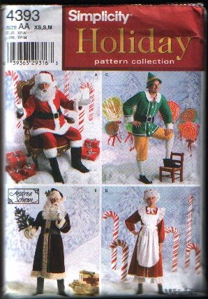 Simplicity 4393 Santa Mrs Claus Elf Costume Sewing Pattern XS S M