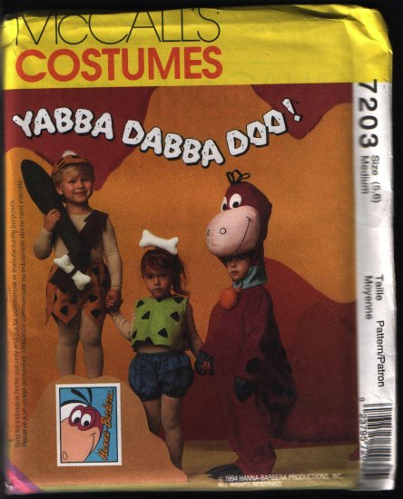 Mccalls 7203 Vintage Pebbles, Bam Bam, Dino Costume Sewing Pattern Size 5 and 6