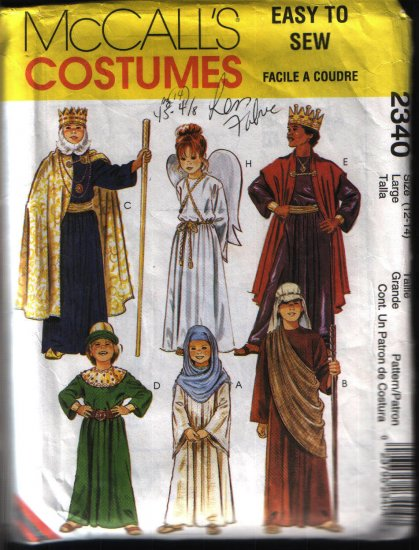 McCalls 2340 Seiwng Pattern Children Robe, King, Angel Costume Sewing Pattern Sz 12 14