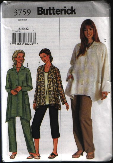 Butterick 3759 Sewing Pattern Plus Size Misses Shirt with Shaped Hemline and Pants Plus Szs 18 20 22
