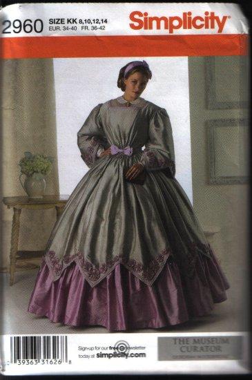 Simplicity 2960 Sewing Pattern Civil War Renaissance Costume Dress Pattern Sz 8 10 12 14