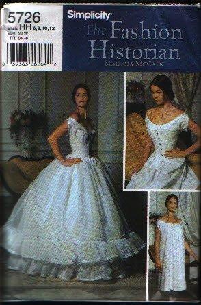 Simplicity 5726 Fashion Historian Sewing Pattern Misses Corset, Chemise, Petticoat Pattern sz 6-12