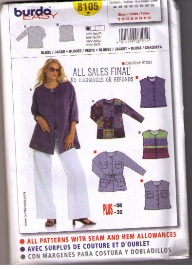 Burda 8105 Uncut Sewing Pattern Plus Size tops,  Jackets Sizes 18 20 22 24 26 28 30 32