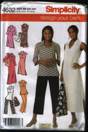 Simplicity 4632 Sewing Pattern Misses Plus Size Dress, Top, Pants, Bag Uncut 20 22 24 26 28