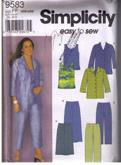 Simplicity 9583 Sewing Pattern Women Plus Size Tops, Pants, Skirt easy to sew 18 20 22 24