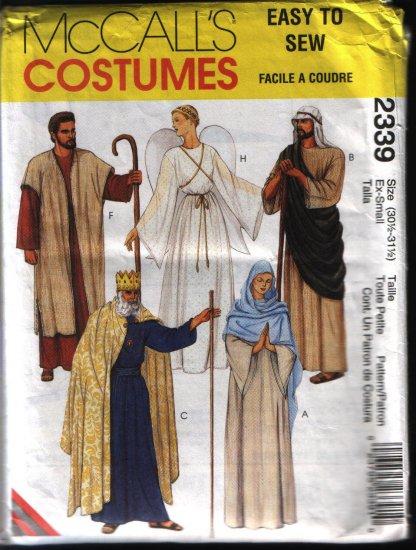 Mccalls 2339 Sewing Pattern Mens Misses Robe, Angel, King Costume Pattern Sz XS