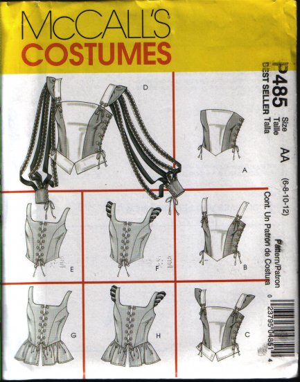 Mccalls 4107 or p485 Sewing Pattern  Misses Renaissance Tops Pattern Costume Szs 6 8 10 12
