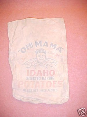 "Vintage Cloth Bag ""Oh Mama"" Potatoes FREE SHIPPING!!!"