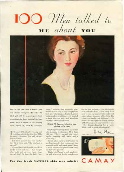 Camay Soap Ad 1931 - 100 Men Talked about You