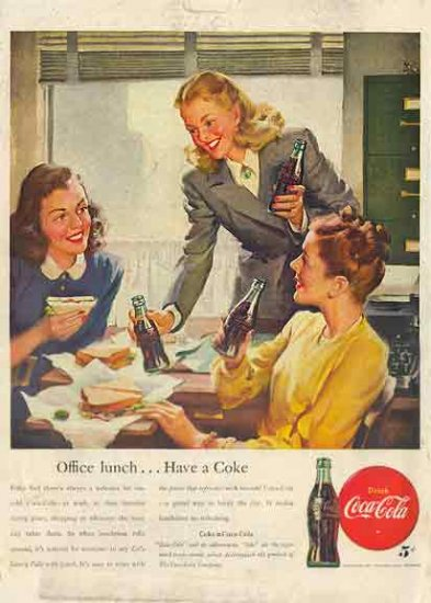 Coca Cola 1946 AD - Office Lunch Have a Coke