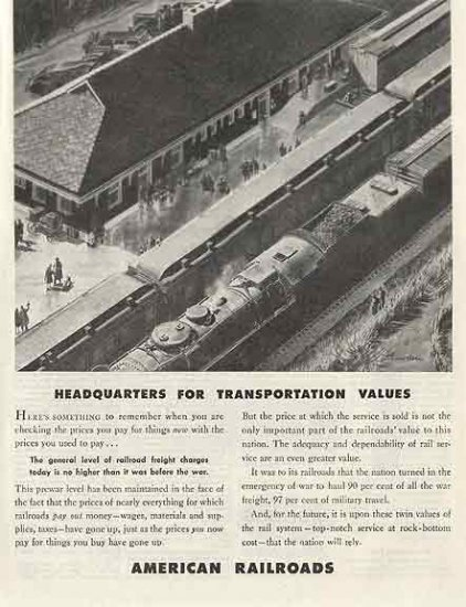 American Railroads 1946 Ad - Headquarters for Transportation