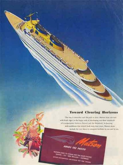 Matson Ocean Liner AD 1946 - Towards Clearing Horizons