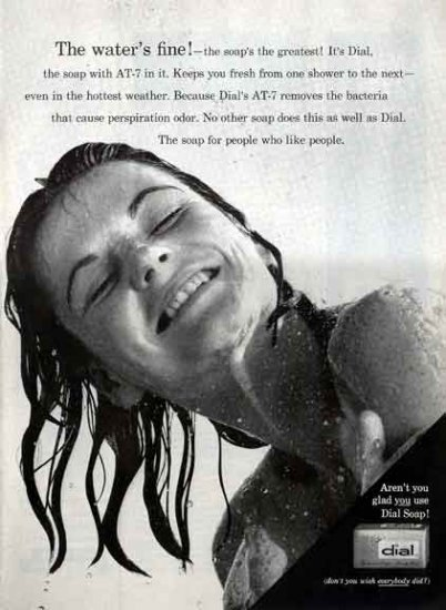 DIAL SOAP 1959 Ad - Water's Fine - Dial with AT7
