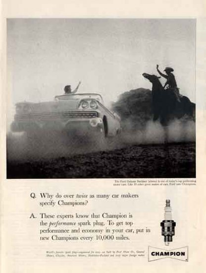 Champion Sparkplugs Ad- 1959 FORD GALAXIE SUNLINER