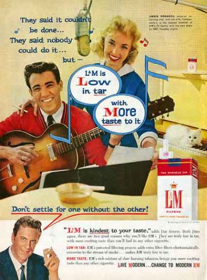 L&M Cigarette Ad 1959 - Jimmie Rodgers James Arness