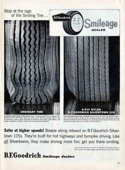 GOODRICH TIRES 1959 Ad - Smileage