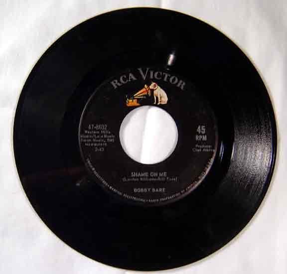 Bobbie Bare 1962 SHAME ON ME RCA