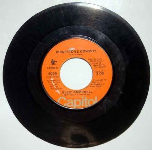 Glen Campbell 1975 RHINESTONE COWBOY Capitol 45 RPM