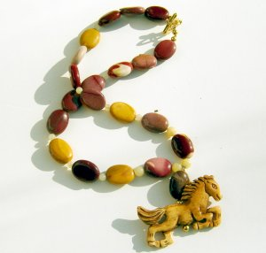 Carved Horse and Mookaite and Yellow Jade Necklace