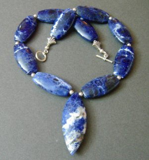 Sodalite Blue and Sterling Silver Necklace