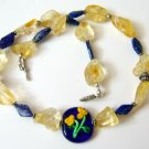 Citrine, Lapis Lazuli and Lampwork Beaded Necklace