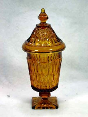 Indiana Footed Amber Glass Jar with Lid