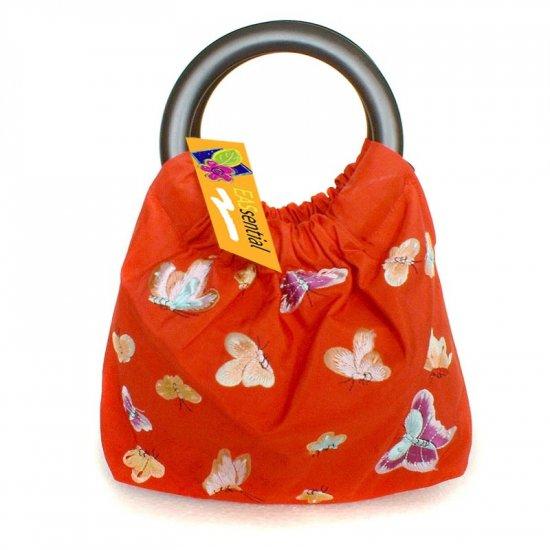 Dainty Pretty Red Silk Butterfly Embroidery Handbag