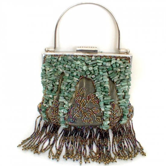 Green Jade Stone Beaded Silk Evening Bag