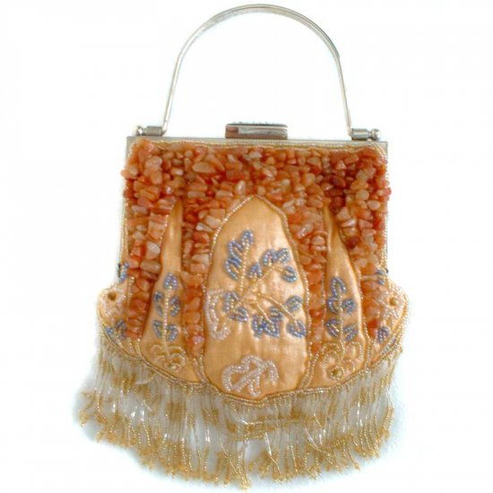 Orange Citrine Stone Beaded Silk Evening Bag