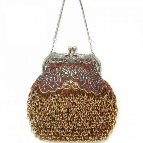 Brown Beaded and Sequin Opera Purse