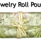 Silky Embroidered Brocade Jewelry Travel Organizer Roll Pouch (G2)