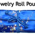 Silky Embroidered Brocade Jewelry Travel Organizer Roll Pouch (B1)