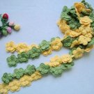Hand-crochetted green and yellow  peachblossom flowers scarf