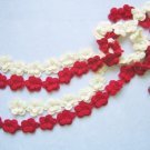 Hand-crochetted white and red peachblossom flowers scarf