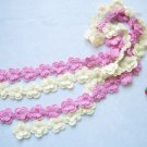 Hand-crochetted white and pink  peachblossom flowers scarf