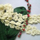 Hand-crochetted cream white  peachblossom flowers scarf