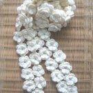 Beautiful Hand-crochetted white peachblossom flowers scarf