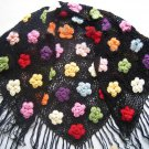 Hand-crochetted black  scarf with multi-colour flowers