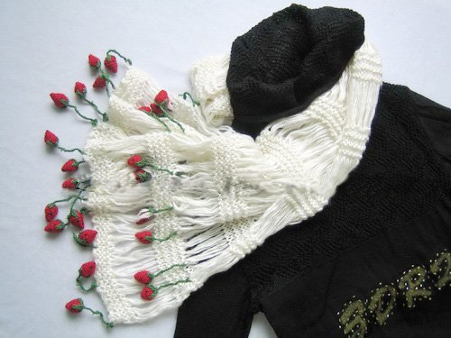 Hand-crochetted white  long scarf with lovly red strawberry