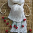 Hand-knitted white long scarf with amazing red strawberry