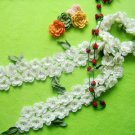 Hand-crochetted white peachblossom flowers scarf with green leaves